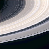 The planet Saturn is a delicate giant.